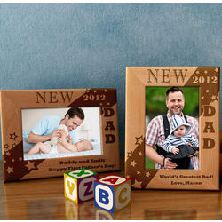 Personalized New Dad Wooden Picture Frame