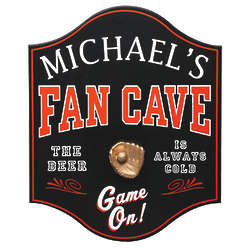 Red and Black Personalized Sports' Fan Cave Sign