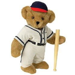 Baseball Teddy Bear with Wooden Bat