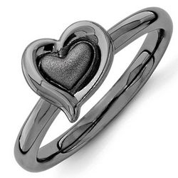Black Plated Sterling Silver Sideways Puffy Heart Ring