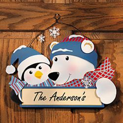 Polar Bear and Penguin Personalized Door Sign