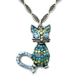 Glamour Puss Crystal Cat Necklace