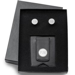 Black Leather Wallet and Pin Stripe Cufflinks Personalized Set