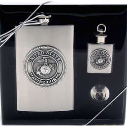Marine Corps Flask Gift Set