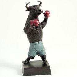 Stock Market Boxing Bull Statue