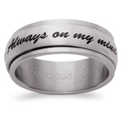 Stainless Steel Always on My Mind Engraved Spinner Band