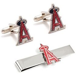 Los Angeles Angels Cufflinks and Tie Bar Set