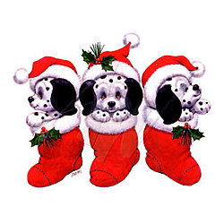 Dalmatians In Christmas Stockings T-Shirt