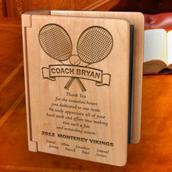 Personalized Our Tennis Coach Wooden Photo Album