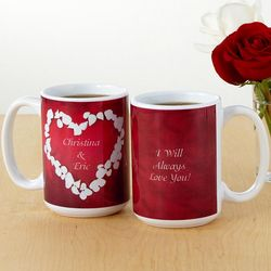 Heart in Petals Red Personalized Mugs