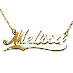 Personalized 14 Karat Gold Wave Name Necklace