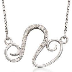 Silver Leo Zodiac Necklace with Diamond Accents