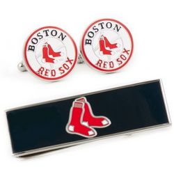 Boston Red Sox Cuff Links and Money Clip Gift Set