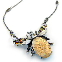 Queen Bee Pewter and Glass Necklace
