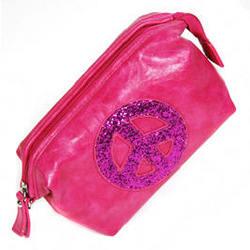 Pink Crystal Peace Sign Makeup Purse