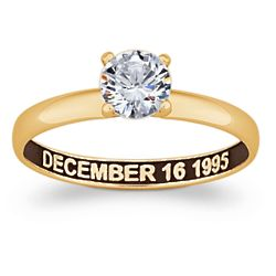 Sculpted 18k Gold Over Sterling CZ Solitaire Engagement Ring