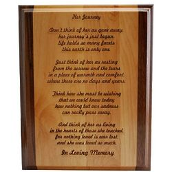 Her Journey Memorial Plaque