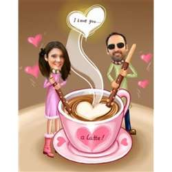 I Love You a Latte Caricature from Photos