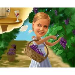 Grapes from the Vineyard Caricature Art Print