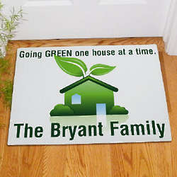 One House at a Time Personalized Go Green Doormat