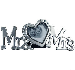 Mr. and Mrs. Jewel Heart Picture Frame