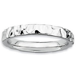 Sterling Silver Hammered Stackable Ring