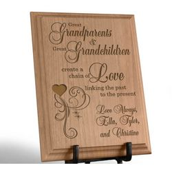 Personalized A Great Chain of Love Wooden Plaque