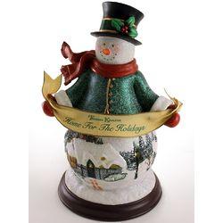 Illuminated Thomas Kinkade Holidays Snowman Figurine
