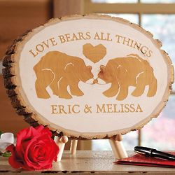 Love Bears All Things Personalized Pine Wood Plaque