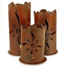 Sun Spiral Iron Candleholders