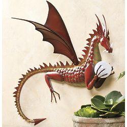 Metal Dragon with Solar Color-Changing Ball Wall Art