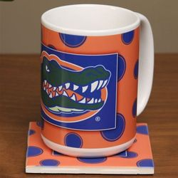 Florida Gators Ceramic Polka Dot Coffee Mug and Coaster