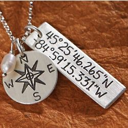 Sterling Silver Personalized Longitude Latitude Necklace