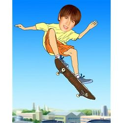 Skate Boarding Custom Photo Caricature