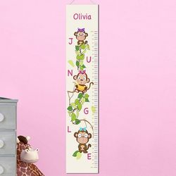 Pretty Monkeys Personalized Height Chart