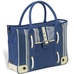 Aegean Large Day Tote in Blue Stripe Denim