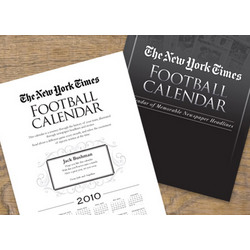 Personalized New York Times Football Calendar