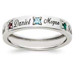 Sterling Silver Mother's Name & Birthstone Band