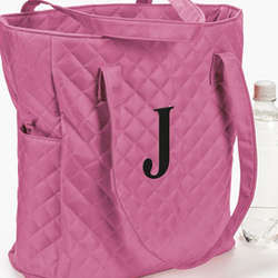 Personalized Pink Quilted Tote Bag