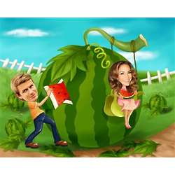 Love is Growing in the Garden Caricature from Photos
