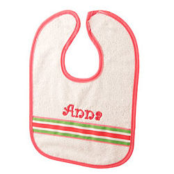 Personalized Baby Bib with Pink and Green Ribbon Accent