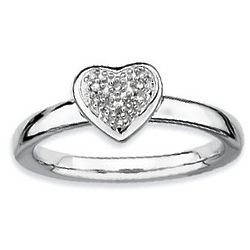 Sterling Silver Diamond Heart Stackable Ring