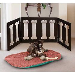Bones Wooden Three Section Pet Gate