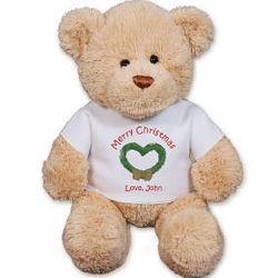 Personalized Christmas Wreath Teddy Bear
