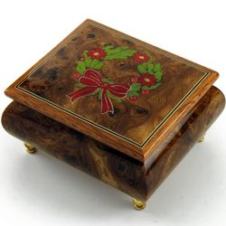 Joyous Christmas Wreath Hand Inlaid Sorrento Music Box