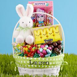 Personalized Deluxe All in One Green Easter Basket
