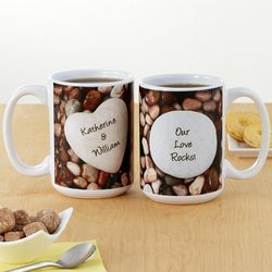 Heart in Pebbles Personalized Mugs