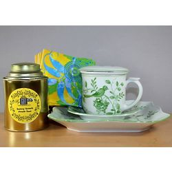 Green Bird Ceramic Tea Mug Set