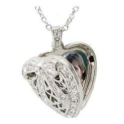 Rhodium Plated Heart Locket Necklace