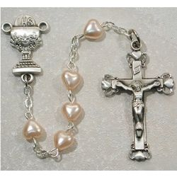 Sterling Silver Pink Pearl Heart Rosary